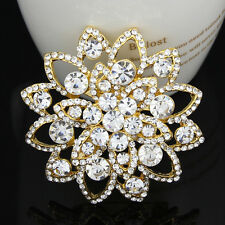 Large Dazzling Wedding Rhinestone Crystals bridal Flower Lady Brooch Pins Women