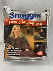 Snuggie Blanket With Sleeves Brown Micro Plush Fleece One Size Adult