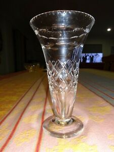 EARLY VINTAGE/ANTIQUE STUART HEAVY CUT CRYSTAL TRUMPET SHAPED VASE-BEAUTIFUL CON