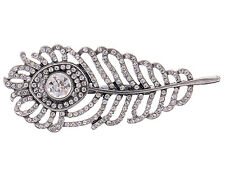 ChicRepro Silver Tone Crystal Rhinestone Peacock Feather Girl Ring