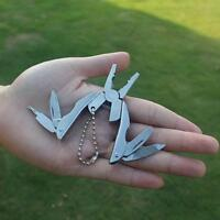 Folding Plier Mini Stainless Steel Keychain Screwdriver Portable Camping Tools