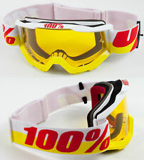 100% PERCENT ACCURI MX MOTOCROSS GOGGLES IN & OUT with GS YELLOW TINT LENS bmx