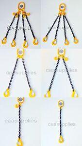 7mm 8mm 10mm 13mm Chain Sling 1 2 3 4 Leg Shortner & Hook Choice  ID Tag Lifting