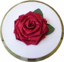 Hat Box, Hand Painted,  Red/White Stripes, Red Rose