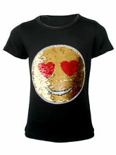 KIDS EMOJI EMOTICON SMILEY FACE T-SHIRT TEE TOP BRUSH CHANGING SEQUIN AGE 3-14 Y