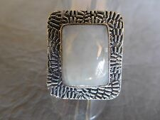 BAGUE PLAQU ARGENT PIERRE DE LUNE BLANCHE NATURELLE RECTANGLE RING T 59 US 8 3/4
