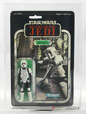Vintage Star Wars MOC AFA 80 Lili Ledy / Made in Mexico CLEAR Biker Scout Kenner
