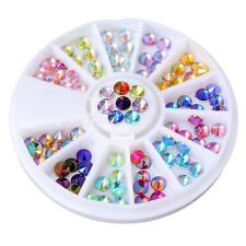 12 Color Nail Art Tip Rhinestones Crystal Gems Glitter  DIY Decoration Wheel 4mm