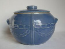 Vintage Blue Ceramic Bean Pot w/ Lid Chain Design Fired Glazed Oven Safe Rustic