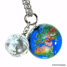 Planet Earth & Moon Pendant Necklace -22mm Glass Marble Charm World Globe Orrery