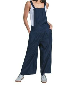 Ladies Culotte Dungarees - Indigo Wide Leg Bib Overalls