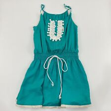 Turquoise Lace Embroidered Pearl Dress Romper Size Large