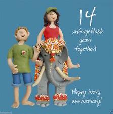 Santo Caballa aniversario Greeting Card 14 14th decimocuarta años Marfil