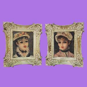 Victorian Women's Fashion Look Prints in Ornate Wood Braoque Frames Vintage Set