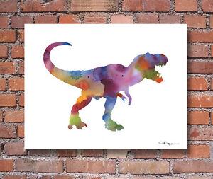 Tyrannosaurus Rex Contemporary Watercolor Abstract Dinosaur 11 x 14 ART Print