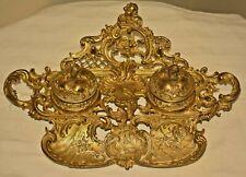 Antique Geschutzt Austrian Bronze Ormolu Figural Cherub Double Lidded Inkwell