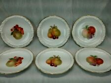 Very nice 6 Epiag Czechoslovakia fruits gold rim plates 7 6/8 inches wide