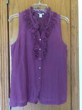 J.Crew Plum Purple Top Blouse Button Sleeveless Ruffle Silk Cotton Light Size 6