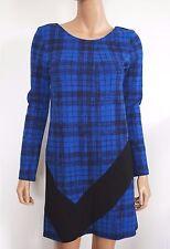 NWT JIL SANDER NAVY Black Blue CHECK Print Dress 34 US-4