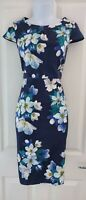 Womens Precis Petite Dress size 8 pencil blue white flowers business party vgc