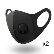 2 x Face Mask Breathable Washable Filter Protective Mouth Protection Black