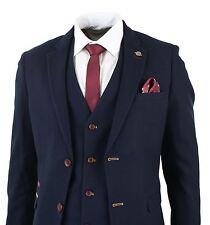 Mens Navy Blue Slim Fit Tweed 3 Piece Suit Smart Formal Fitted Wine Burgundy