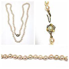 perlas de cultivo Collar 86cm Collar de perlas 585er Oro Cierre CIERRE diamantes