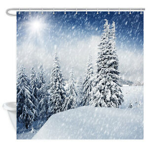 Snowfall Nature Mountain Xmas Pine Tree Fabric Shower Curtain for Bathroom