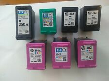 HP 350XL, 351XL, 301XL, 301+302 Ink Cartridges for Refilling. 7 total. Used.