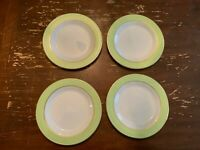 Vintage Pyrex Lime Green With Gold Trim 10 Inch Dinner Plate Set Of 4 N