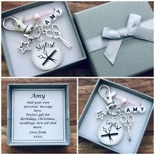 HAIRDRESSER CHARM, WEDDING hair, THANK YOU gift, BRIDE, BRIDESMAID, personalised