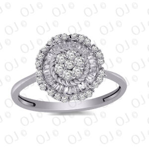 0.40 CT Natural Diamond Flower Cluster Engagement Ring in 14K White Gold Over