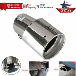 Universal Car Round Silver Stainless Steel Chrome Exhaust Tail Muffler Tip Pipe