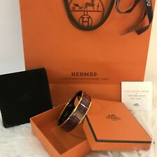 Hermes Enamel Yellow Gold Plated Bangle Bracelet Size 65