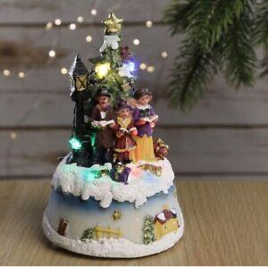 Christmas Village Scene Light Up Santa Snowman Tree Battery Operated Decoration