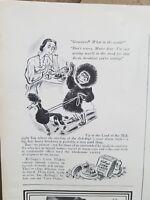 1938 WK KELLOGGS corn flakes box Eskimo sled poodle dog vintage ad