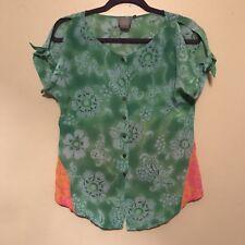 Vanessa Virginia Silk Fata Morgana Top Blouse Size 2 Green ANTHROPOLOGIE