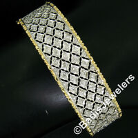 "Solid 18K Gold 6.25"" 1.40ctw Round Diamond Wide Pierced Hinged Bangle Bracelet"