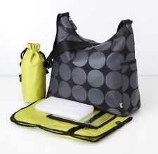 New OiOi Grey Dot Hobo Nappy Bag with Lime Lining (6059) Free Express Shipping!