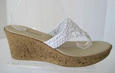 ATHENA ALEXANDER White Braided Sandal Open Toe Wedge Thong  Size 11/41