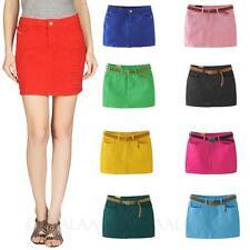 kala Candy color Low waist Denim Trendy Ladies Sexy Mini Skirts with pockets Sz