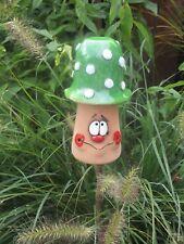 Keramik Pilz Beetstecker grün Garten Terrasse Handarbeit Deko Beet Herbst 50831