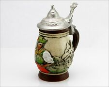 Vintage Germany Signed Wl Lidded Hand Painted Small Beer Stein, 4.25""