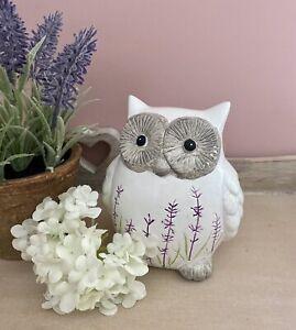 10cm White Terracotta Owl Ornament Figurine Handpainted Lavender Home Decor Gift