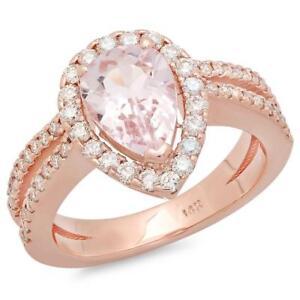 Certified 2.50cttw Morganite 0.75cttw Diamond 14KT Rose Gold Gold Ring