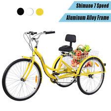 Ridgeyard 26'' 7-Speed Adult Aluminum Alloy Tricycle Bicycle Bike With Basket