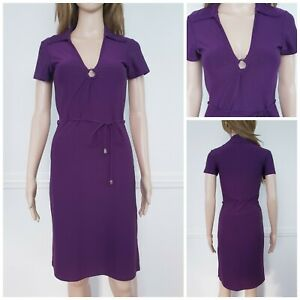 ❤️MISS SELFRIDGE purple collared belt smart pencil bodycon dress size 8-10 1350