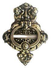 1 x Large Cherub Door Knocker Solid Antiqued Cast Brass English Made .(847)