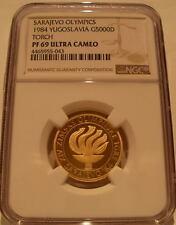 Yugoslavia 1984 Gold 5000 Dinara NGC PF-69UC Sarajevo Olympics - Torch