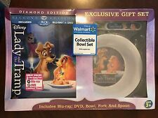 LADY AND & THE TRAMP Diamond Ed Blu-ray DVD Exclusive Set Bowl Fork Spoon NEW!